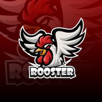 Logotipo de mascota gallo esport
