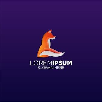 Logotipo de la mascota del gradiente de fox