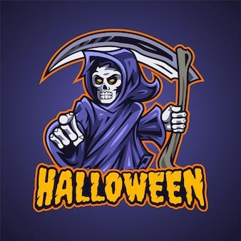 Logotipo de la mascota de grim reaper esport