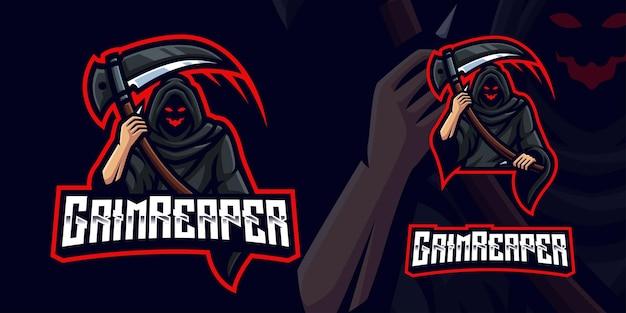 Logotipo de la mascota de grim reaper gaming para esports streamer y community