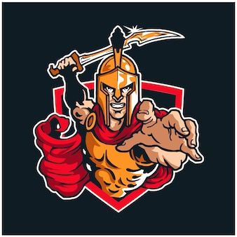 Logotipo de la mascota del guerrero espartano