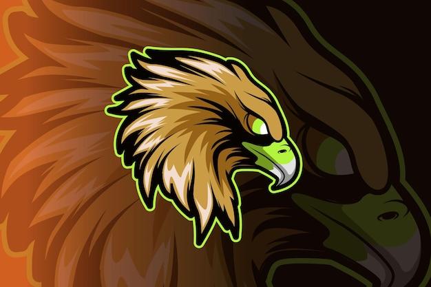 Logotipo de la mascota head eagle para juegos deportivos electrónicos