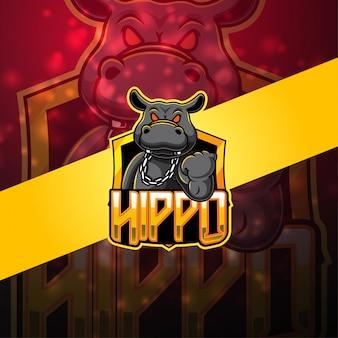 Logotipo de la mascota de hipopótamo esport