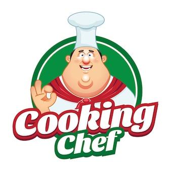 Logotipo de la mascota de la historieta del chef de panadería