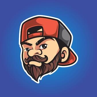 Logotipo de mascota de hombre hipster vintage