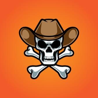 Logotipo de la mascota del hueso de la cruz del vaquero