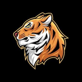 Logotipo de la mascota de ilustración de vector de cabeza de tigre