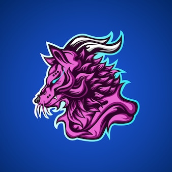 Logotipo de la mascota del juego wolf predators