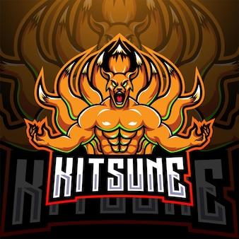 Logotipo de la mascota kitsune esport