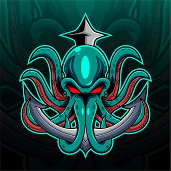 Logotipo de la mascota de kraken octopus esport