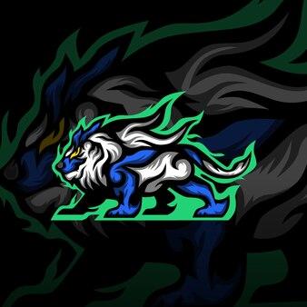 Logotipo de la mascota del león guerrero esport