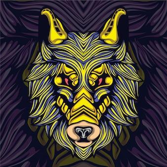 Logotipo de la mascota de lobo gaming esport