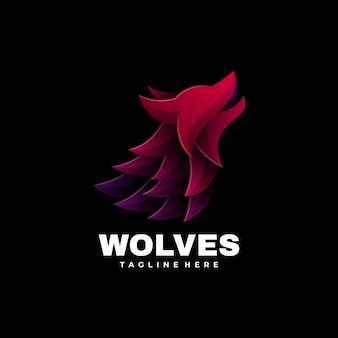 Logotipo de la mascota de los lobos estilo colorido degradado.