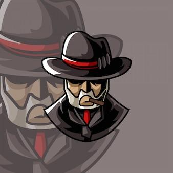 Logotipo de la mascota de la mafia
