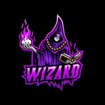 Logotipo de la mascota del mago esport gaming