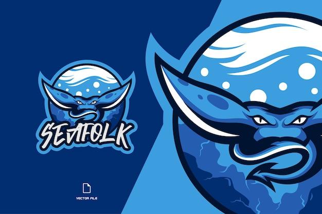 Logotipo de la mascota de mantarraya para el equipo de juegos deportivos