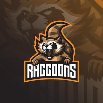 Logotipo de la mascota de mapache con un estilo de ilustración moderno para la impresión de insignias, emblemas y camisetas.