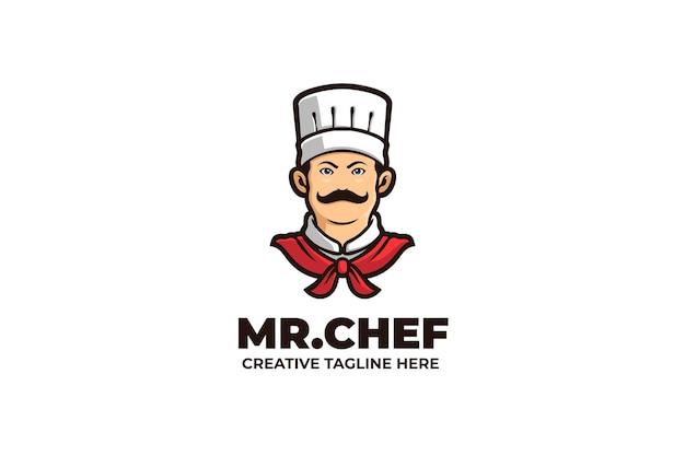 Logotipo de la mascota de mister chef cooking food