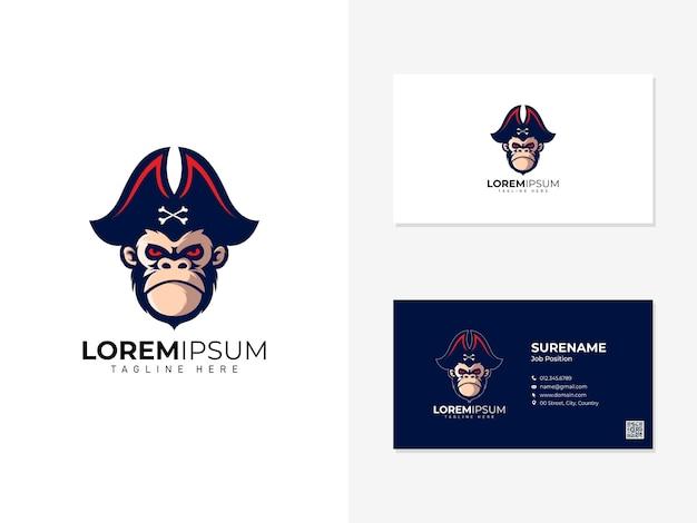 Logotipo de la mascota del mono pirata y tarjeta de visita