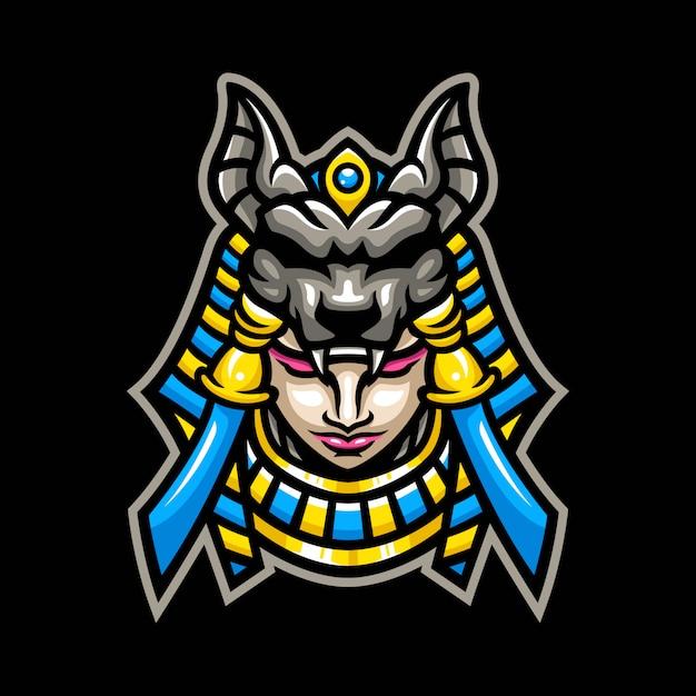 Logotipo de la mascota de mujer anubis