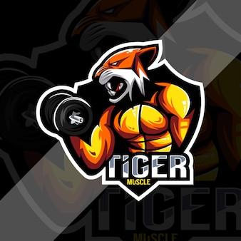 Logotipo de la mascota del músculo del tigre esport