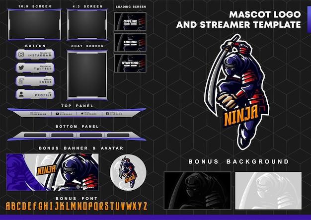 Logotipo de la mascota ninja y plantilla de superposición de twitch