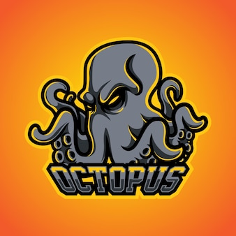 Logotipo de la mascota de octopus gamer e sports