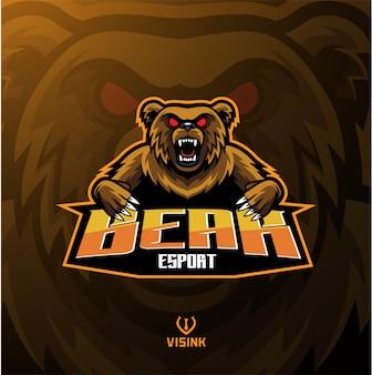 Logotipo de la mascota del oso deportivo.