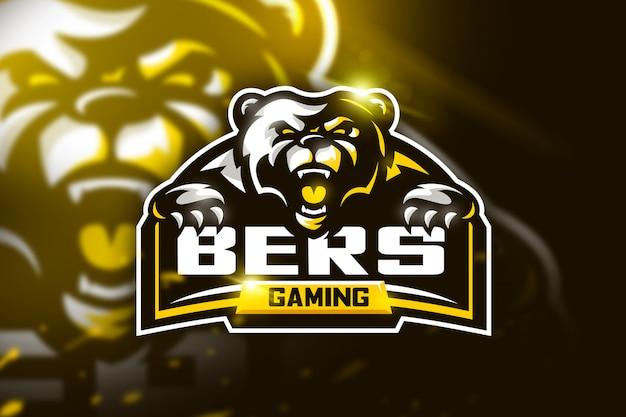 Logotipo de la mascota del oso para equipo deportivo.