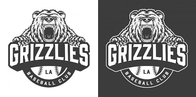 Logotipo de la mascota del oso feroz del club de béisbol