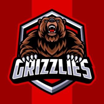 Logotipo de la mascota del oso grizzly