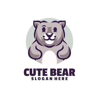Logotipo de la mascota del oso lindo aislado en blanco