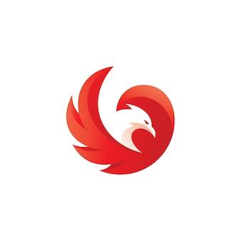 Logotipo de la mascota del pájaro y el ala