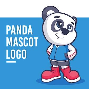 Logotipo de mascota panda de dibujos animados