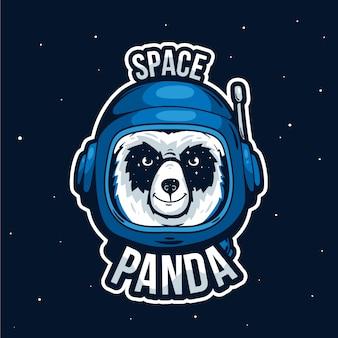 Logotipo de mascota con panda espacial