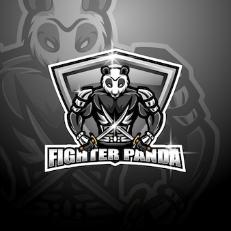 Logotipo de la mascota de panda fighter