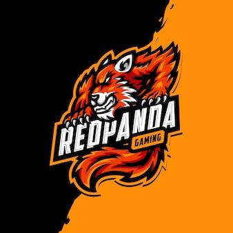 Logotipo de la mascota del panda rojo esport gaming