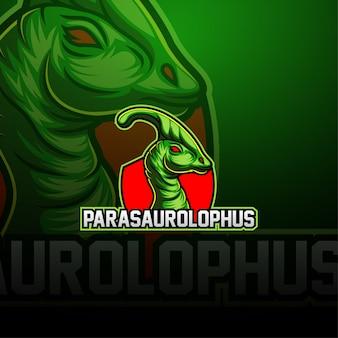 Logotipo de la mascota de parasaurolophus esport