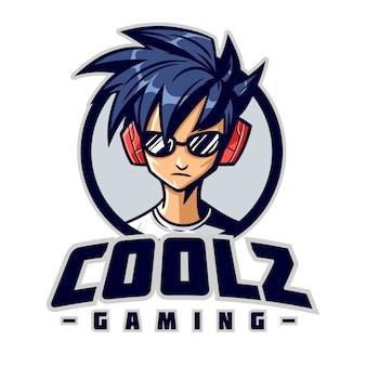 Logotipo de mascota de personaje cool gamer