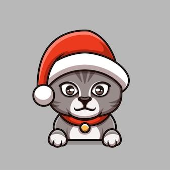 Logotipo de mascota de personaje de dibujos animados creativo de navidad de gato