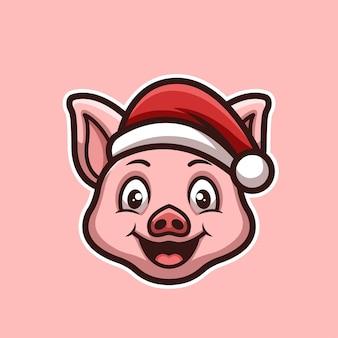 Logotipo de mascota de personaje de dibujos animados creativos de navidad de cerdo lindo