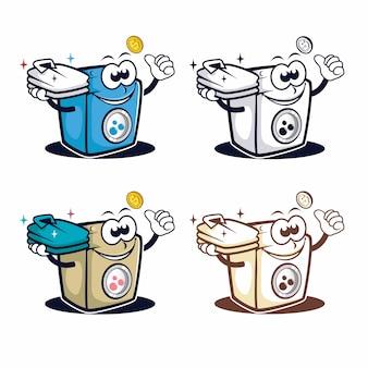 Logotipo de mascota de personaje de lavadora