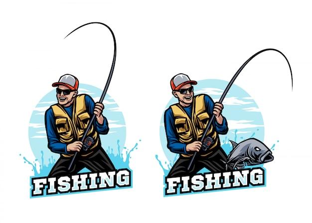 Logotipo de mascota de pesca deportiva de pescador