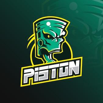 Logotipo de la mascota del pistón con un estilo de ilustración moderno para la impresión de insignias, emblemas y camisetas.
