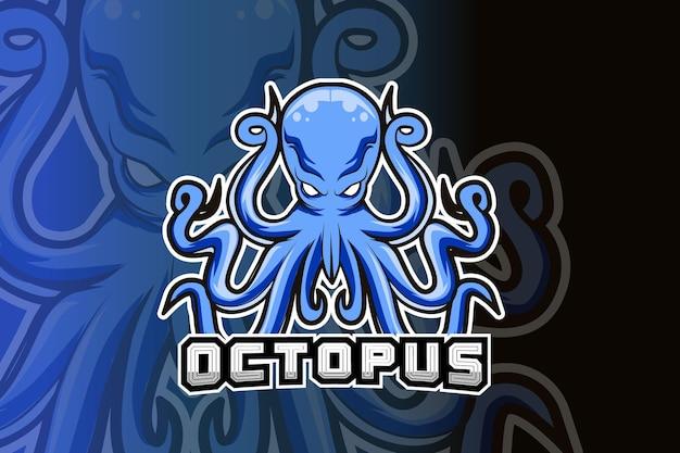 Logotipo de la mascota del pulpo para juegos deportivos electrónicos