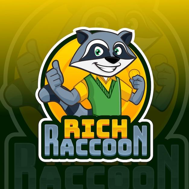 Logotipo de la mascota de raccon rico