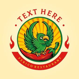 Logotipo de la mascota del restaurante perico con chile