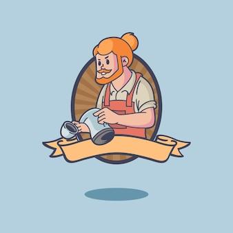 Logotipo de la mascota retro barista