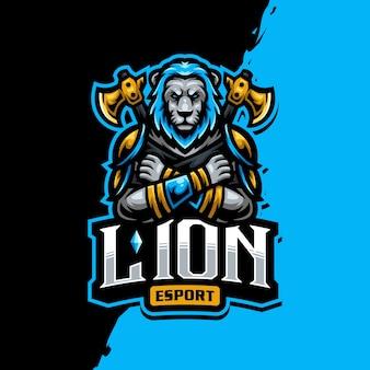 Logotipo de la mascota del rey león esport gaming