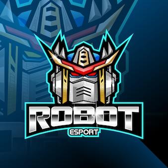 Logotipo de la mascota del robot cabeza esport